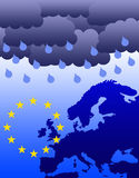 Euro problems. Dark clouds hanging over the European Union (debt crisis in Greece, Ireland, Portugal Royalty Free Stock Photography