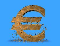 Euro problems concept with euro symbol shattered. Blue background Stock Image