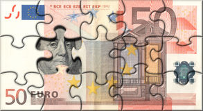 Euro puzzle. Business concept. Banknote 50 Euro puzzle Royalty Free Stock Photography