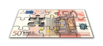 Euro puzzle. Business concept. Banknote 50 Euro puzzle Royalty Free Stock Photos