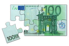 Euro puzzle. Simple 100 Euro puzzle toy, one piece left to complete (High resolution 3d render Stock Image