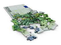 Euro puzzle. Puzzle with the image of euro banknotes on a white background Stock Illustration