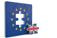 Euro puzzle and one puzzle piece with great britain flag.3D illustration. vector illustration
