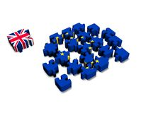 Euro Puzzle and one  Piece with Great Britain Flag. 3D illustration.  CG. Stock Photo