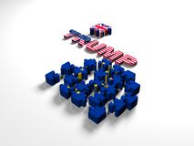 Euro Puzzle and one Piece with Great Britain Flag. 3D illustration. CG. Stock Images
