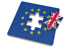 Euro puzzle and one puzzle piece with great britain flag.3D illustration. royalty free illustration