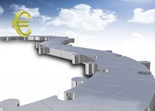 Euro with puzzle path Royalty Free Stock Image