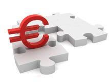 Euro puzzle piece. 3D render Stock Photos