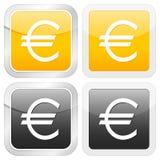 Euro quadrato dell'icona Fotografia Stock