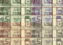 Euro quadriculado diferente do vintage do sepia contra o fundo dos dólares Foto de Stock Royalty Free