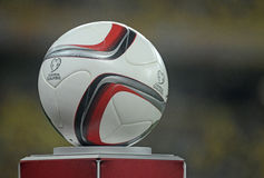 EURO 2016 Qualifier official ball. The official bal of the UEFA Euro 2016 qualifiers pictured prior to the EURO 2016 qualifier match between Romania and Greece Stock Photography