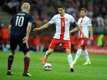 Euro 2016 qualifies Polnad-Scotland Royalty Free Stock Photo