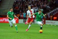 EURO Qualifikationsrunde 2016 Polen gegen Repräsentanten von Irland Stockbild
