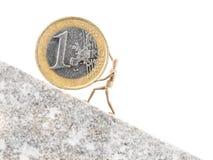 Euro que rola acima Foto de Stock Royalty Free