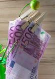 500 euro que secam no pino na árvore Foto de Stock