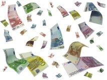 Euro que vuela Imágenes de archivo libres de regalías