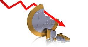 Euro quebrado Imagenes de archivo