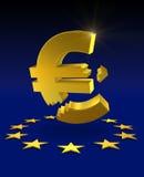 Euro quebrado Foto de archivo