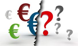 Euro / question-mark. 3d abstract illustration Stock Photography
