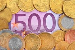Euro quinientos Imágenes de archivo libres de regalías