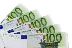 Euro 100 räkningar Fotografering för Bildbyråer