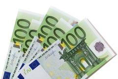 Euro 100 räkningar Arkivfoto