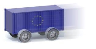 Euro récipient d'expédition de drapeau avec des roues Photos stock