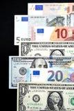 Euro rachunki i dolarowi rachunki Fotografia Stock