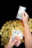 Euro rachunki i dolarowi rachunki Fotografia Royalty Free
