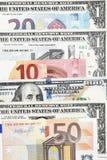 Euro rachunki i dolarowi rachunki Zdjęcia Stock