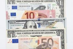 Euro rachunki i dolarowi rachunki Obraz Stock