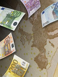 Euro rachunku kolaż i Europa mapa Zdjęcie Stock