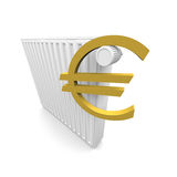 Euro and radiator. In 3D Royalty Free Stock Images