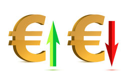 Euro raising and falling sign Royalty Free Stock Photography