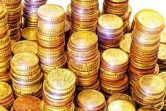 Euro rasgado ao meio de encontro ao fundo velho Fotografia de Stock Royalty Free