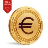 Euro rasgado ao meio de encontro ao fundo velho moeda 3D física isométrica com símbolo do Euro isolada no fundo branco Ilustração Foto de Stock