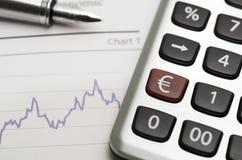 Euro Rate. A euro sign on a calculator Royalty Free Stock Photos