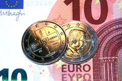 2 euro red cross, commemorative coin 2014, belgium. Original photo 2 euro commemorative coin red cross, belgium stock photos