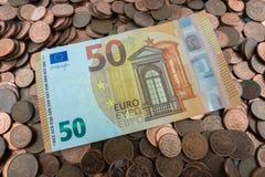 50 euro rekening Royalty-vrije Stock Afbeeldingen