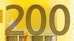 euro rekening 200 op macro Stock Afbeeldingen