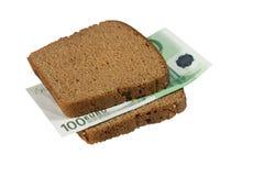 Euro rekening tussen boterhammen Royalty-vrije Stock Foto