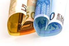 Euro rekening twee in de vorm van een hart Stock Afbeelding