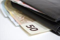 Euro rekeningen in portefeuille Royalty-vrije Stock Afbeeldingen