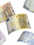 Euro rekeningscollage op wit Stock Afbeeldingen