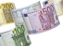 Euro rekeningscollage op wit Royalty-vrije Stock Foto's