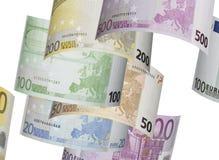 Euro rekeningscollage op wit Stock Foto's