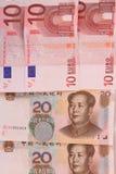 Euro and Renminbi Stock Photography