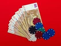 Euro rischio o gioco - commercio, metafora finanziaria Fotografie Stock