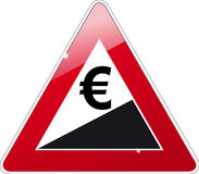 Euro rising sign. On a give way sign Stock Images