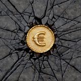 Euro rock. Gold coin with euro sign breaking the rock. 3d illustration Stock Image
